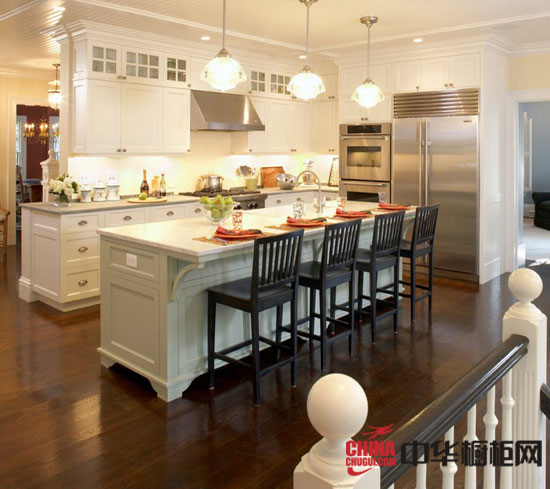 Kitchen Island With Bar Seating Simple And Practical: 实用与时尚兼具 厨房中间岛台设计效果图_中华橱柜网